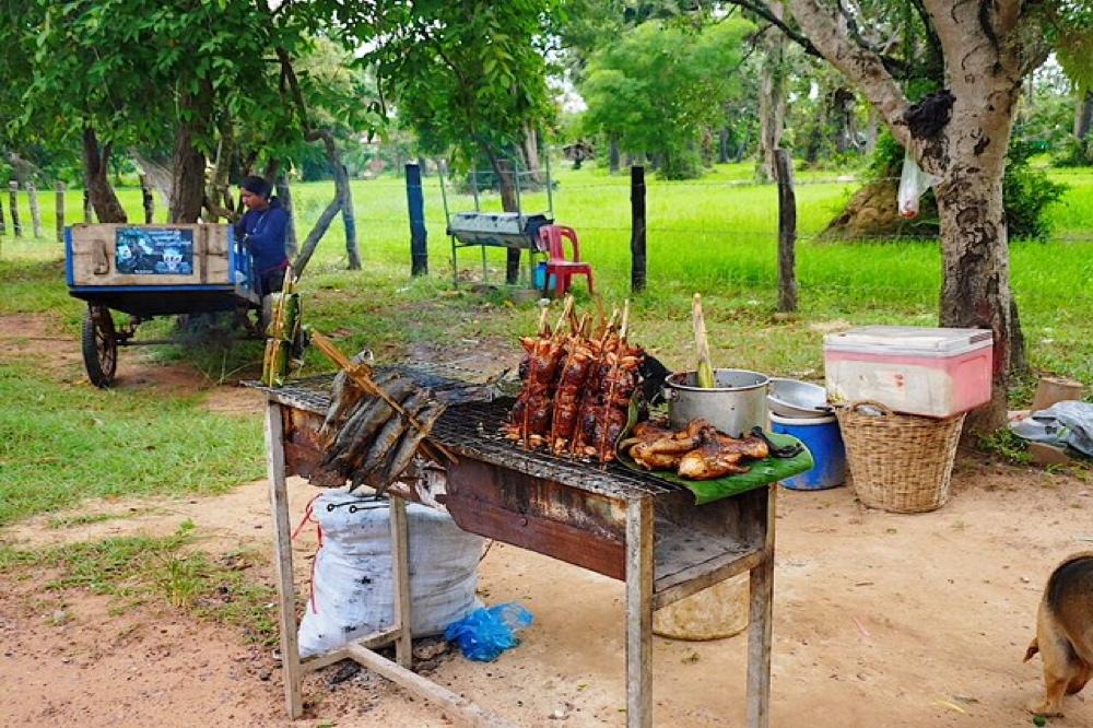 Typisches Khmer Food nahe Angkor Wat in Kambodscha Siem Reap an einem Streefood BBQ Stand auf dem Grill